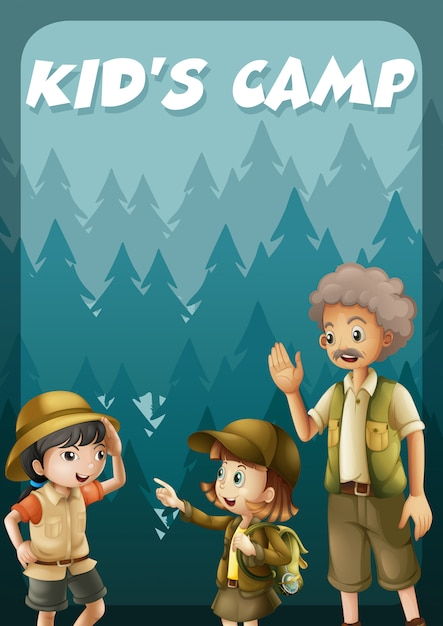 Kid going camping in the forest banner Free Vector