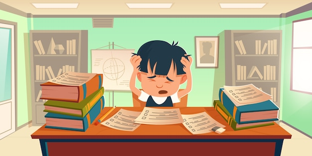Kid got stress doing homework or prepare for exam Free Vector