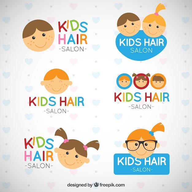 kid hairdresser logo templates vector premium download