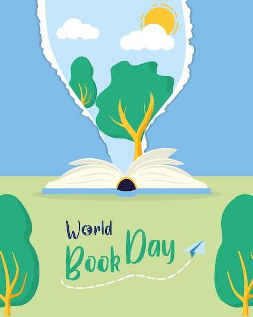 Kid in world book day Бесплатные векторы