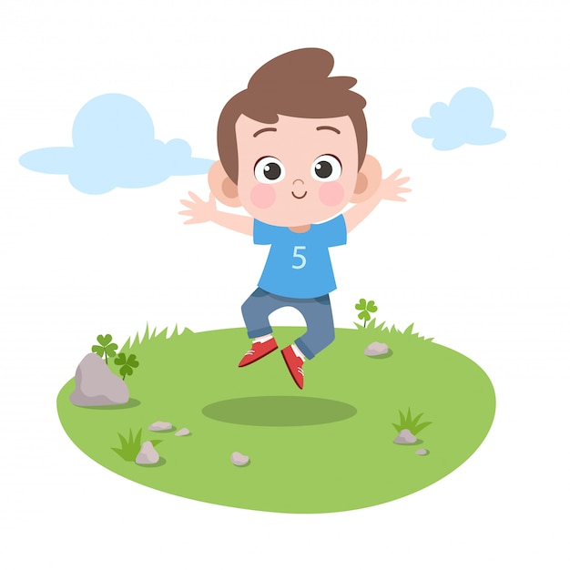 Kid jump in the garden vector illustration Premium Vector