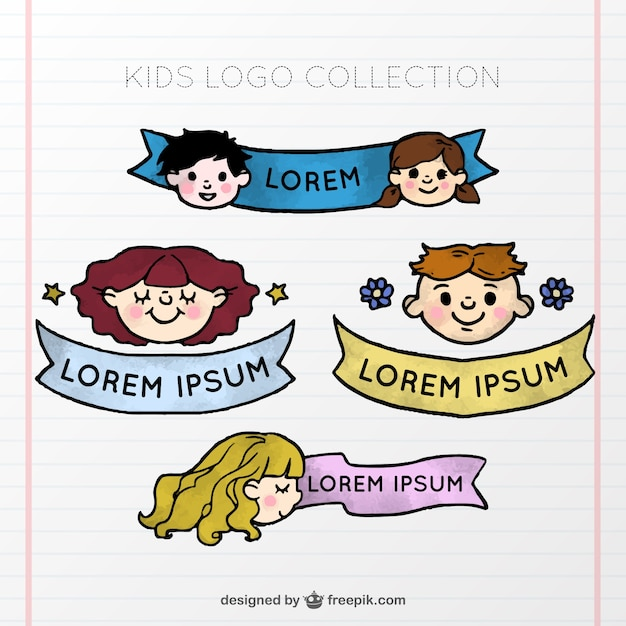 Kid logo collection with ribbon Free Vector