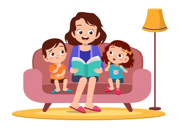 Kid and mother reading in sofa Premium Vector