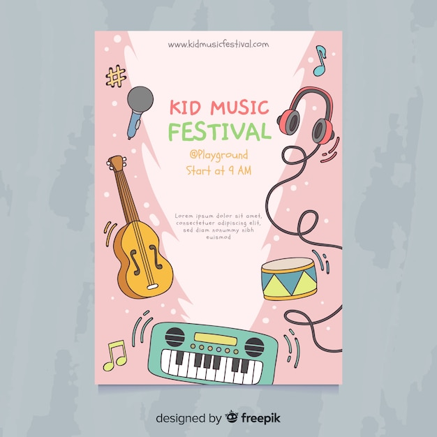 Kid music festival poster Free Vector