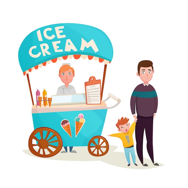 Kid near ice cream seller cartoon Free Vector