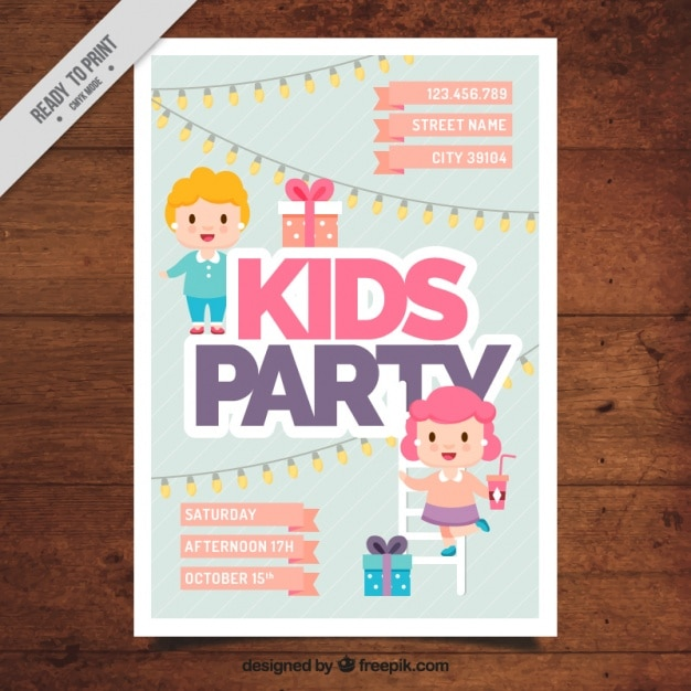 Kid party invitation in flat design Free Vector