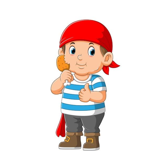 Малыш пиратский мультипликационный персонаж держит жареную курицу Premium векторы