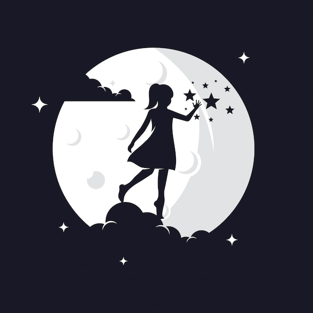 Kid reaching stars силуэт против луны Premium векторы
