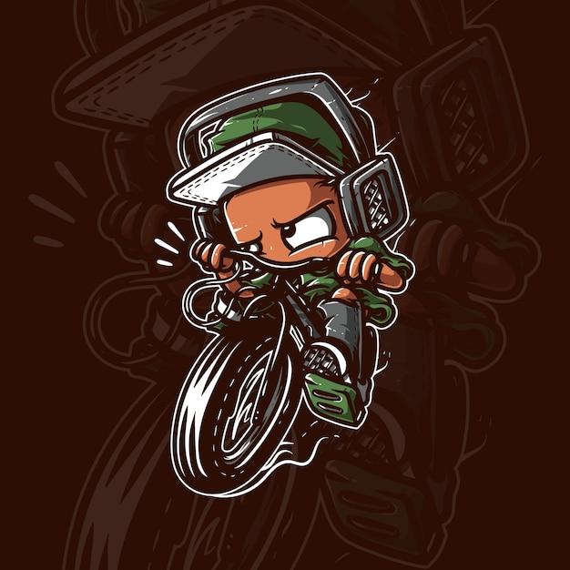 Kid riding bycicle artwork Premium Vector