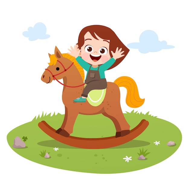 Kid riding horse vector illustration isolated Premium Vector