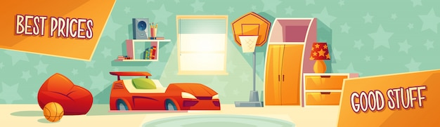 Kid room furniture advertisement vector illustration Free Vector