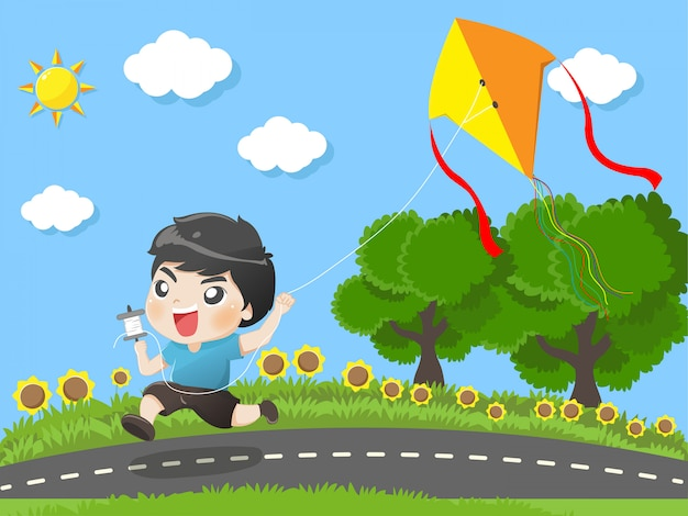Kid running kites in the garden. Premium Vector