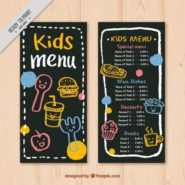 Kid's menu with blackboard background