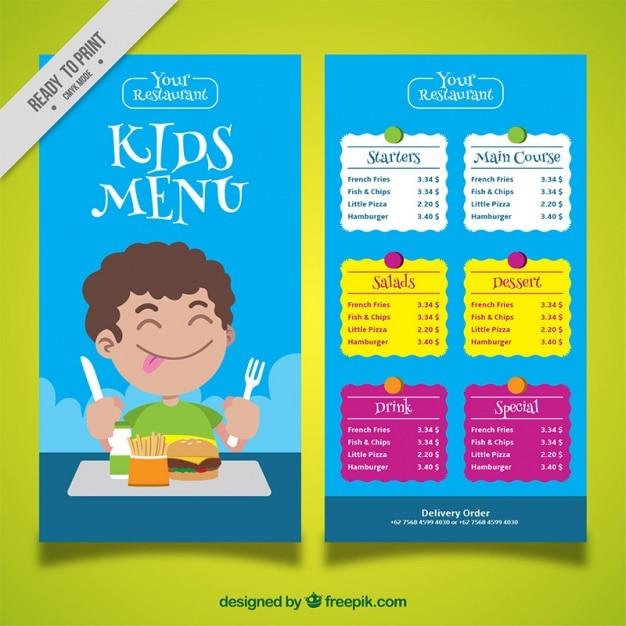 Kid's menu with boy enjoying his food Free Vector