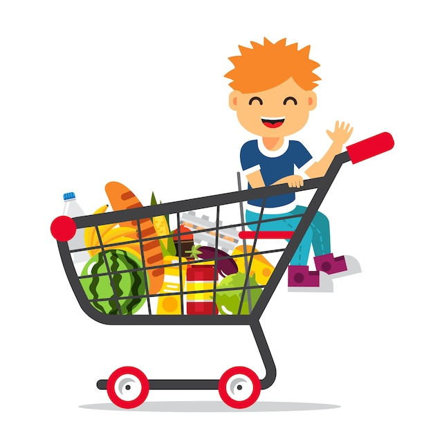 Kid sitting in a supermarket shopping cart Free Vector