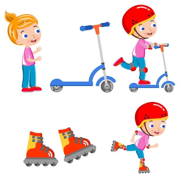Kid skating scooter helmet happy vector Premium Vector