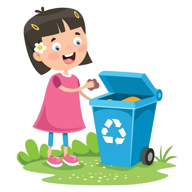 Kid throwing garbage in trash bin | Premium Vector