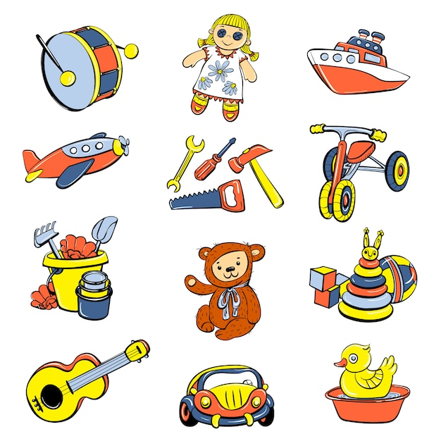Kid toys or children playthings icons set Premium Vector
