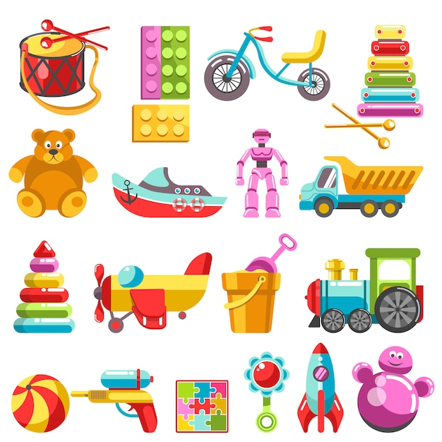 Kid toys or children playthings vector isolated icons Premium Vector