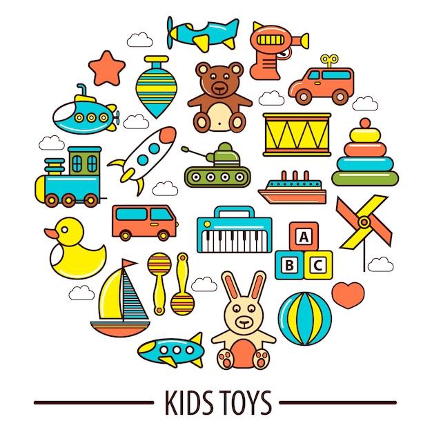 Kid toys or children playthings vector poster Premium Vector