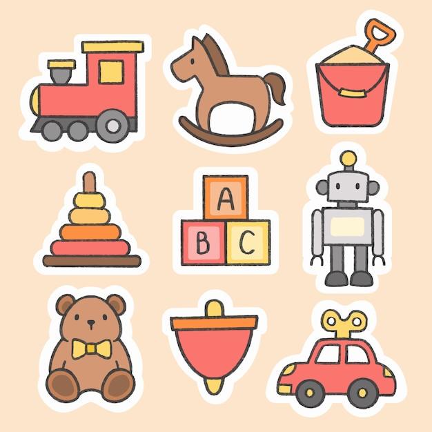 Kid toys sticker hand drawn cartoon collection Premium Vector