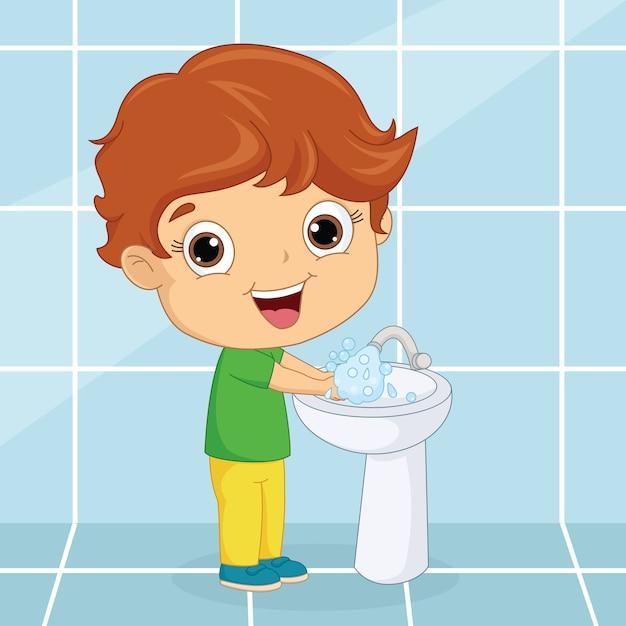 Kid washing hands Premium Vector