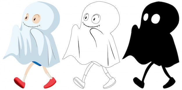 Kid wearing ghost costume in colour and silhouette and outline Free Vector