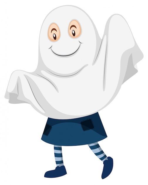 Kid wearing ghost costume Free Vector