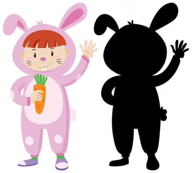 そのシルエットでウサギの衣装を着ている子供 無料ベクター