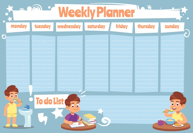 Kid weekly planner. children cute calendar weeks  for to do list notes of school schedule  sticker showers daily template Premium Vector