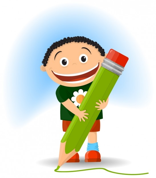Kid with a pencil illustration Free Vector