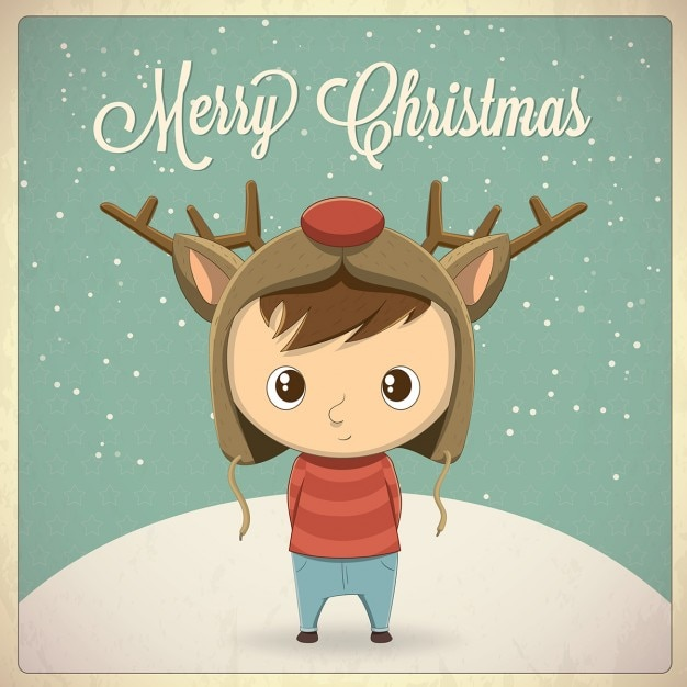 A kid with a rudolph hat Free Vector