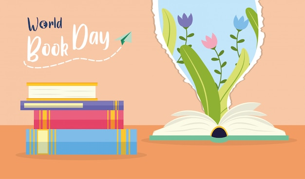 Kid in world book day Free Vector
