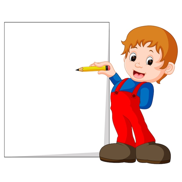 A kid writing letters Premium Vector