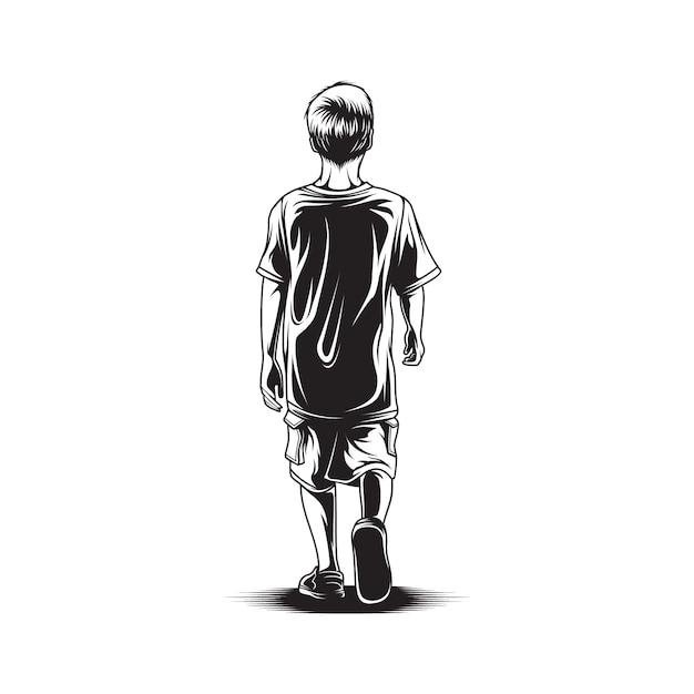 Kid ходьбы вид сзади иллюстрации Premium векторы