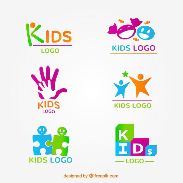 Kid логотип коллекции Бесплатные векторы