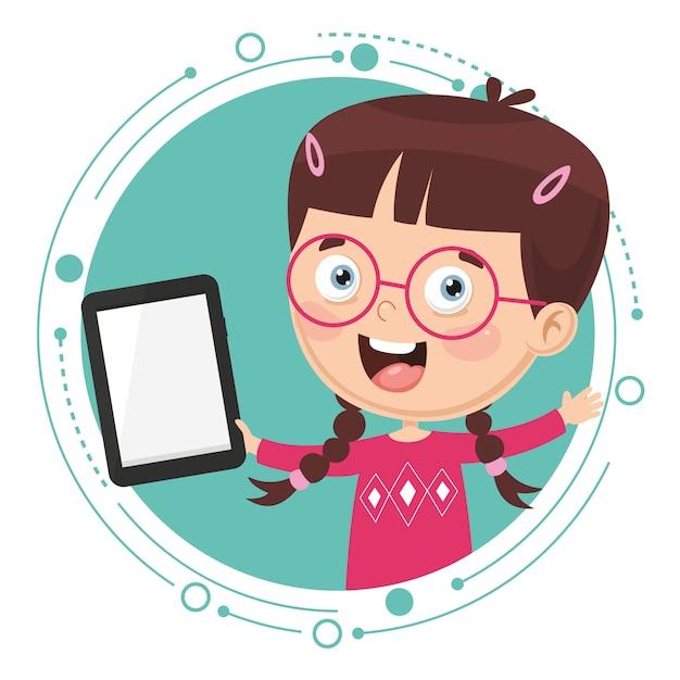 Векторная иллюстрация kid с помощью планшетного пк Premium векторы