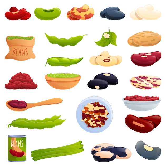 Kidney bean icons set, cartoon style Premium Vector