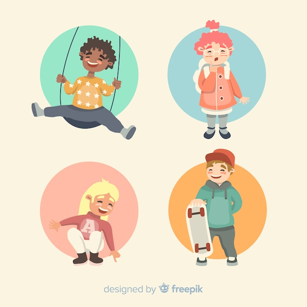 Kids activities childrens day character collection Free Vector