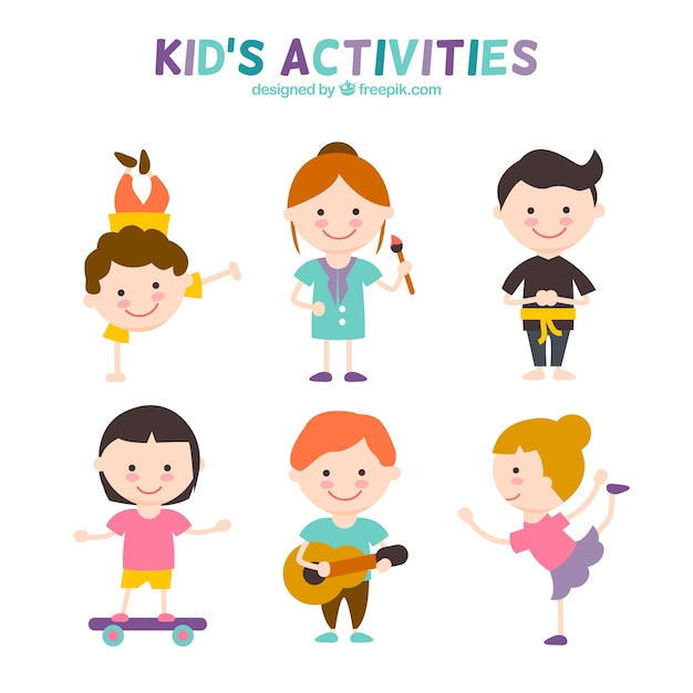 kids activities set free vector - Kids Images Free Download