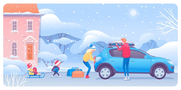 車の漫画のキャラクターを梱包する子供と大人 Premiumベクター