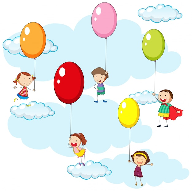 Kids and colorful balloons in sky illustration Free Vector
