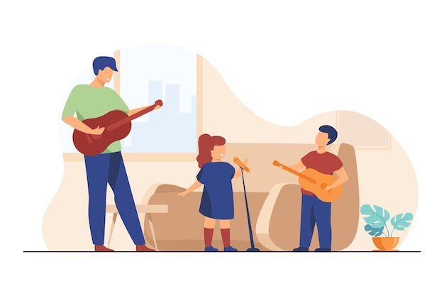 子供とお父さんがギターを弾き、家で歌う 無料ベクター