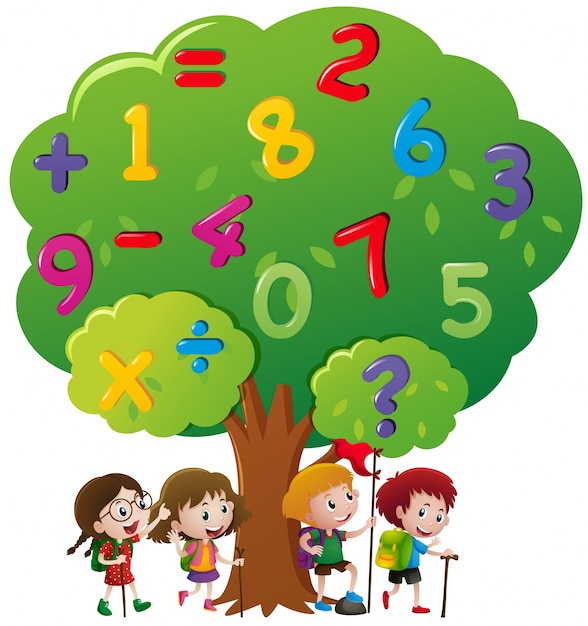 Kids and numbers on the tree Vector | Free Download