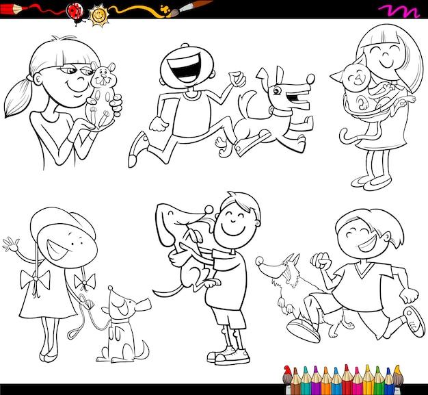 Раскраски для детей и домашних животных Premium векторы