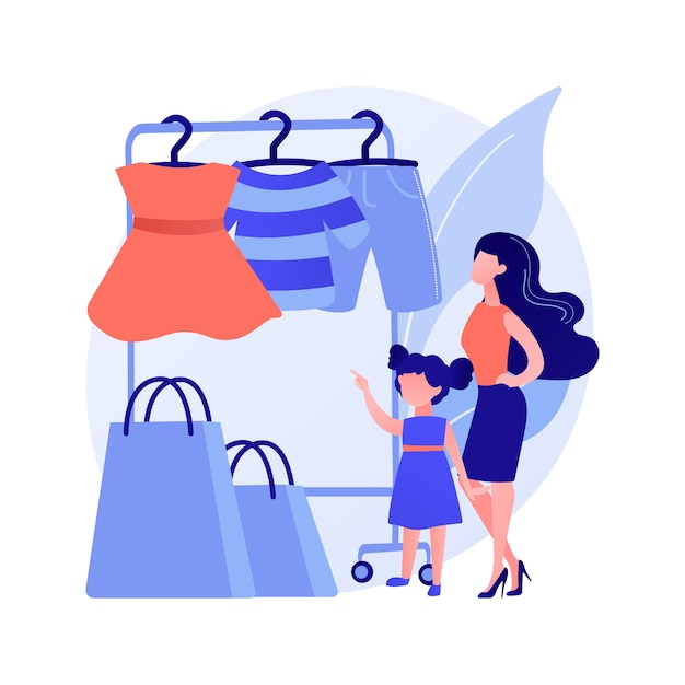 키즈 의류 매장. 아동복, 십대 스타일, 트렌디 한 의류. 쇼핑백과 어린 소녀입니다. 어린이 패션 부티크 구매자. 벡터 격리 된 개념은 유 그림 무료 벡터