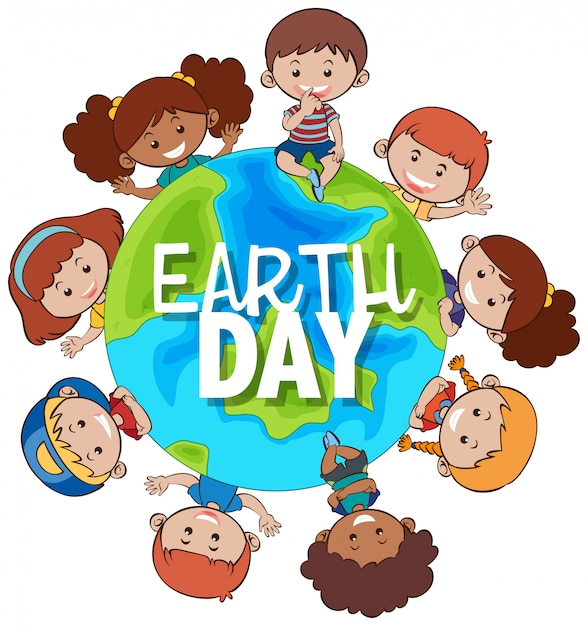 Kids around the earth for earth day Free Vector