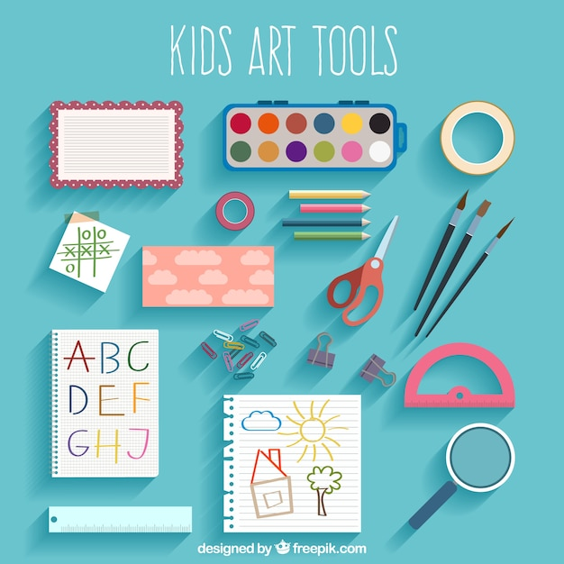 Kids Art Tool Collection In Top View Vector Free Download