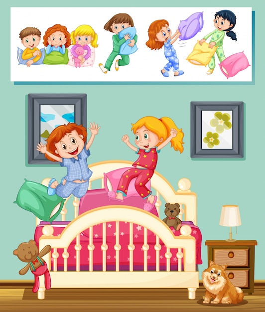 Kids At Slumber Party In Bedroom Illustration Vector