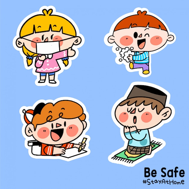 Kids be safe stay at home corona covid-19 campaign sticker illustration b Premium Vector